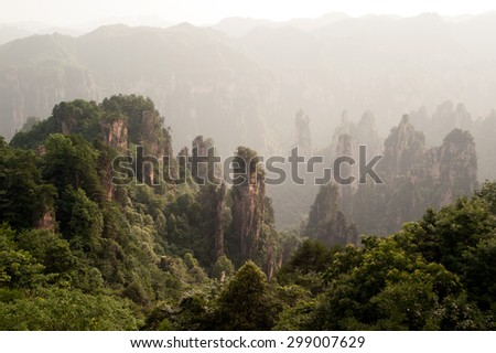 Mysterious mountains in Wulingyuan Scenic area par of Zhangjiajie National Forest Part, Hunan in China.The spot boasts of natural beauty where mountains, valleys, forests, caves, lakes and waterfalls.