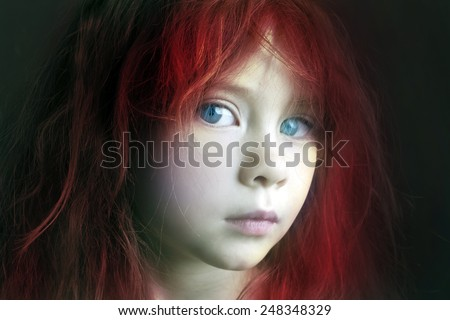 Mysterious mystic girl with red hair - stock photo