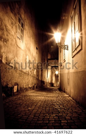 mysterious narrow alley - stock photo