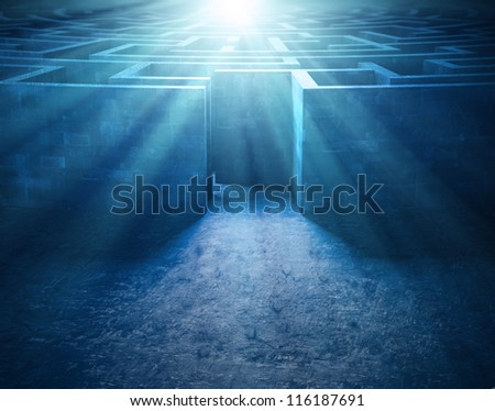 Mysterious old maze - entrance to the labyrinth - stock photo