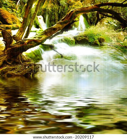 mysterious river -artistic picture - stock photo