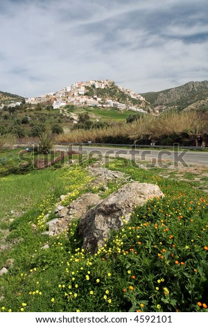 Mysterious sacred city Moulay Idriss in Morocco, Africa close to Mekness. Popular destination for tourists and travelers