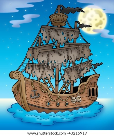 Mysterious ship with full Moon - color illustration. - stock photo
