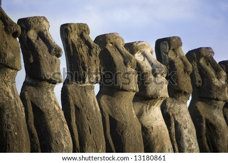 mysterious statues at easter island - stock photo