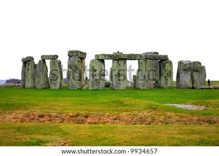 mysterious Stonehenge in UK isolated over white - stock photo
