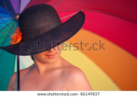 mysterious woman with hat - stock photo