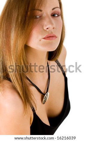 mysterious young woman with a pendant - stock photo