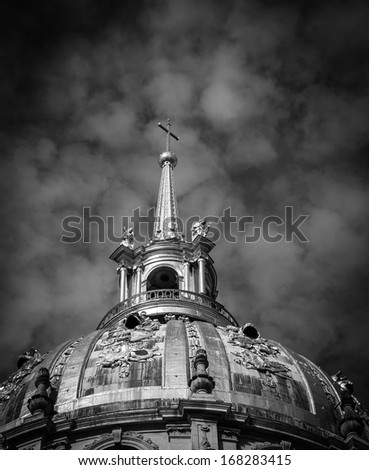 Mystery background. Dome of Les Invalides chapel in Paris. Black and white.