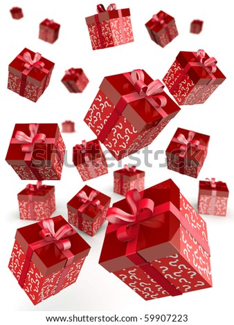 Mystery gift and surprises concept gift box falling with question mark pattern 3d illustration - stock photo