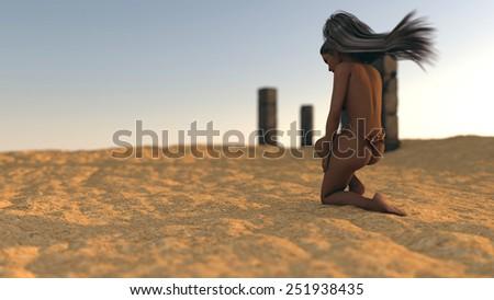 mystery girl in desert on ruins background - stock photo