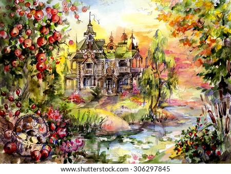 Mystery House in the woods, surrounded by trees and water - the best place for vacation or life fairy-tale characters. And humans. Hand illustration - watercolor and graphics on paper. - stock photo