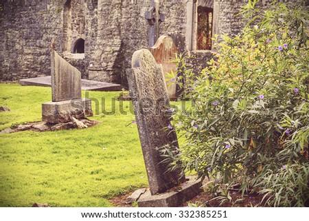 mystery Irish cemetery  - stock photo