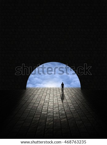 Mystery Man in Tunnel 3D Rendered