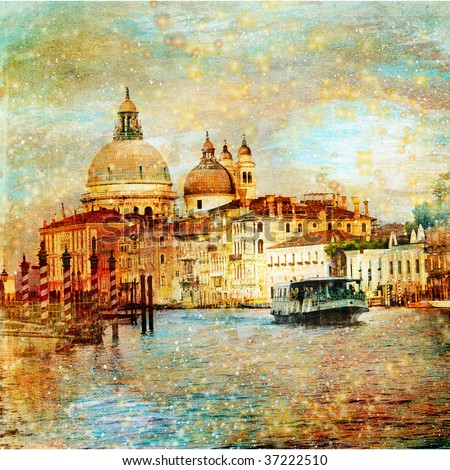 mystery of Venice - artwork in painting style - stock photo