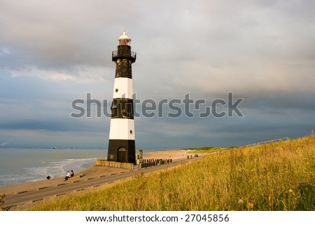mystic atmosphere and very beautiful lighthouse in sunbeams