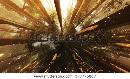 Mystic Fantasy Woods with Lightrays and Fireflies Low Wide Angle 3D Illustration - stock photo