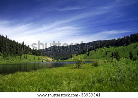 Mystic Lake in Montana on a beautiful, sunny day - stock photo