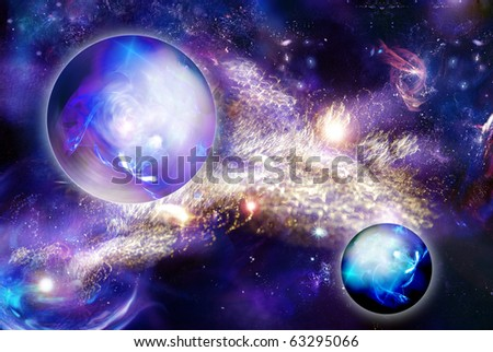 mystic luminous nebula  and planet. Fantastically beautiful picture of space.