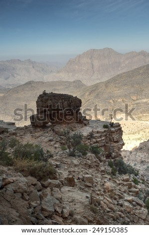 Mystic mountains, Jabal Nakhal, Sultanate of Oman - stock photo