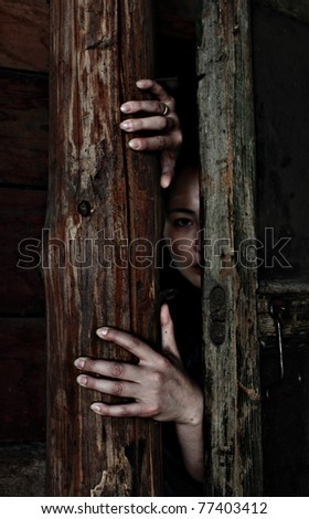 mystic photo woman crawl out of dark places to light - stock photo