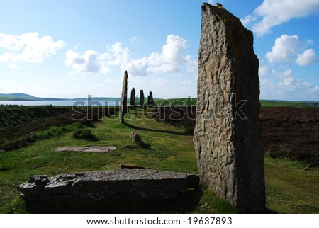 mystic Ring of Brodgar on the beautiful Orkney Islands - stock photo