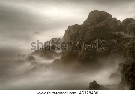 Mystic rocks and frozen water - stock photo