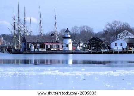 Mystic Seaport in Winter - stock photo