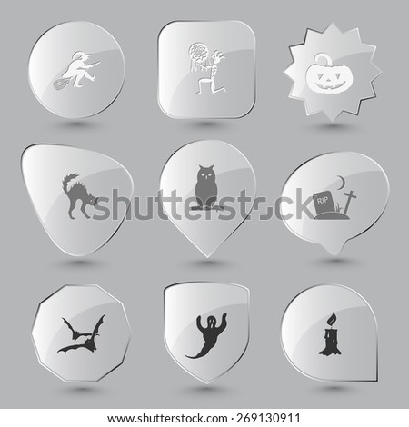Mystic signs set. Raster glass buttons. - stock photo