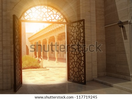 mystic view of gate with sunlight - stock photo