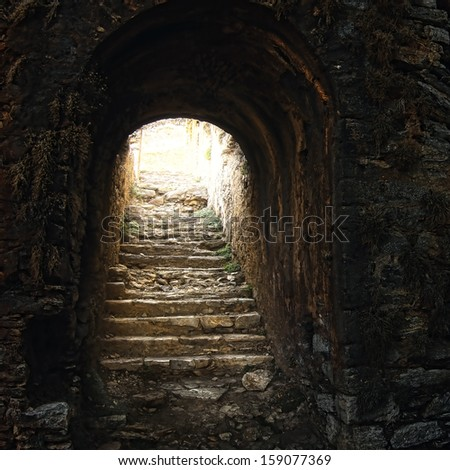 Mystic view of old stony ladder in the medieval castle
