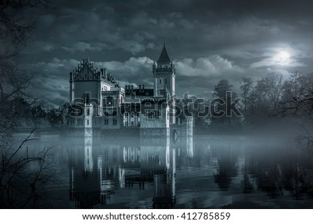 Mystic Water castle in moonlight - stock photo