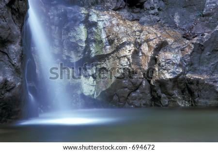 Mystic Waterfall - has noise - stock photo