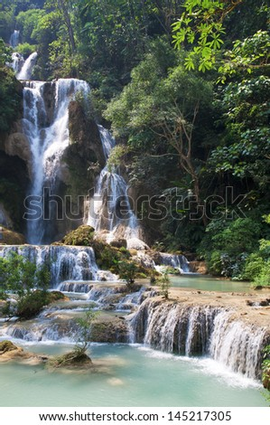 Mystic waterfall in South East Asia - stock photo