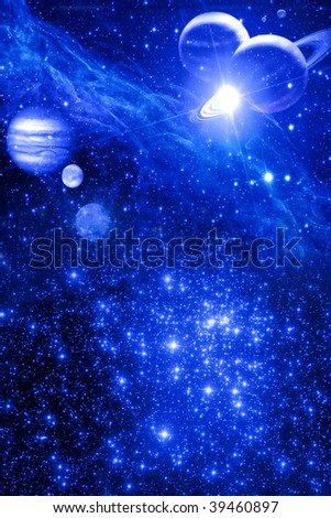 mystical astrological background with stars and planets in blue color - stock photo