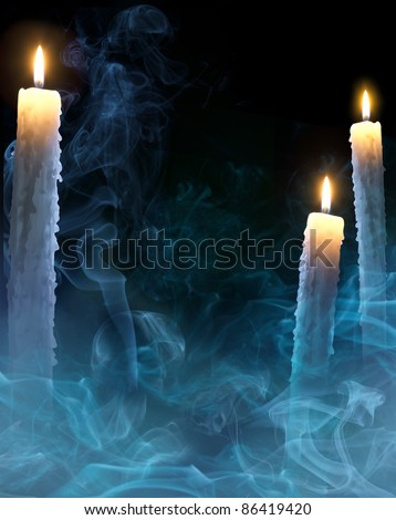 mystical background with candles for a party on Halloween - stock photo