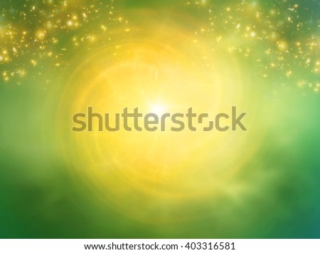 mystical background with gold whirl of light and magic stars - stock photo