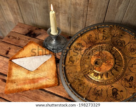 mystical concept still life with zodiac signs, candle and letter - stock photo