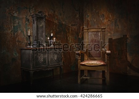 Mystical dark interior against a grungy brick wall