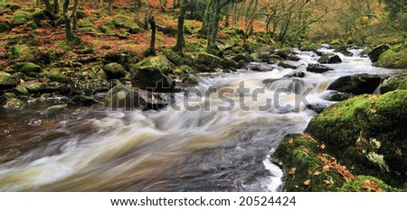mystical dartmoor river - stock photo