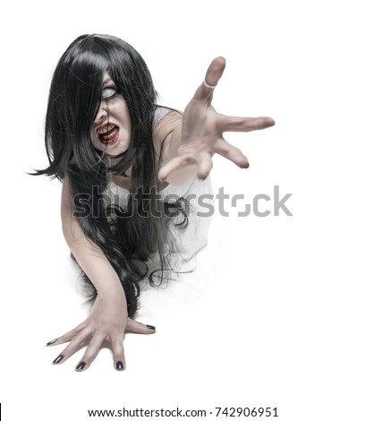 Mystical ghost woman in white long shirt reach out her hand on white