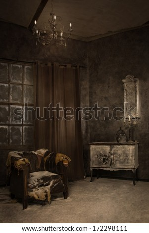 Mystical interior in hoarfrost  - stock photo