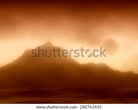 mystical mountains view - stock photo