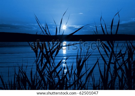 Mystical night (moonlight on the river) - stock photo