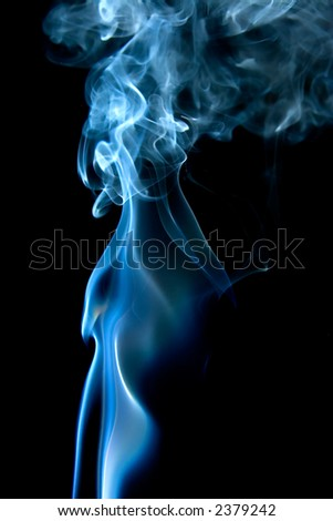 mystical smoke curves in blue on black background - stock photo