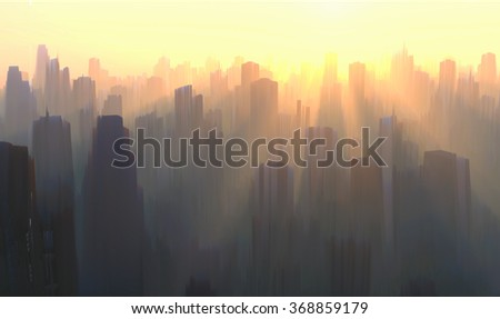 mystical sunrise over the city - stock photo
