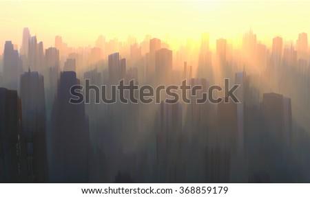 mystical sunrise over the city - stock photo