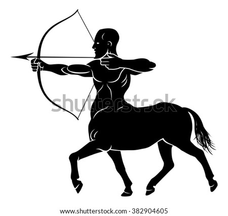 Mythical centaur archer horse man character holding a bow and arrows