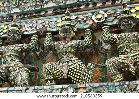 Mythical Giant Guardian Statue - stock photo