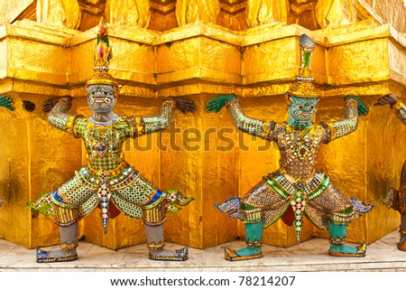 Mythical Giant Guardian (Yak) at Wat Phra Kaew - stock photo