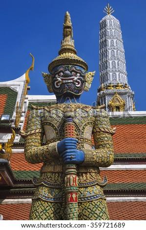 Mythical giant guardian (yak) at Wat Phra Kaew, Bangkok - stock photo